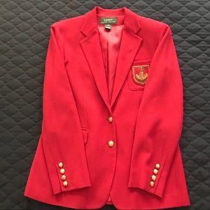 Bright red Ralph Lauren wool Blazer with Logo